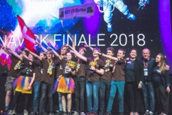 Vinner av skandinavisk FIRST LEGO League 2018, Nxt Ev3lution fra Danmark. Foto: First Scandinavia