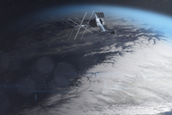 NorSat-1 (background) and NorSat-2 (foreground) in orbit over Lofoten and Northern-Norway. Illustration: T. Abrahamsen