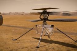 Perseverance har med seg Ingenuity, et mini-helikopter som skal teste flyging i den tynne atmosfæren på Mars. Illustrasjon: NASA