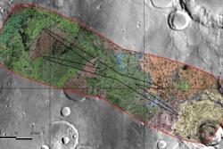 Oxia Planum, landingsområdet til ExoMars-roveren, i detalj. Grafikk: IRSPS/TAS, NASA/JPL-Caltech/Arizona State University