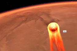 Mars InSight lander på vår røde naboplanet ved hjelp av varmeskjold, fallskjermer og rakettmotorer 26. november 2018. Illustrasjon: NASA/JPL-Caltech