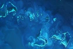 Det store barriererevet, verdens største korallrev, sett av Sentinel-2 i 2017. Foto:Copernicus/ESA,CC BY-SA 3.0 IGO