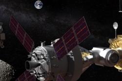 Månestasjonen the Gateway (til høyre) og månelander (til venstre) på vei til månen. Illustrasjon: NASA