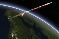Nammos nye hybridrakett  Nucleus i rommet. Illustrasjon: Nammo