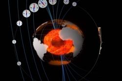 Forskningssatellittene Swarm (lengst til høyre) forsker på jordas magnetfelt, de magnetiske polene og jordas indre. Grafikk: ESA/ATG medialab