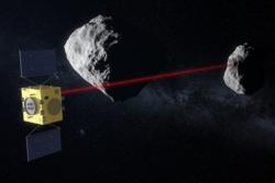 Den europeiske romsonden Hera (t.v.) undersøker Didymoon (t.h.) ved dobbeltasteroiden Didymos. Illustrasjon: ESA/ScienceOffice.org