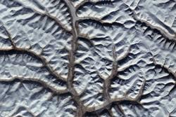Putorana-platået i Sibir, sett i mars 2016 av Sentinel-2. Foto: Copernicus/ESA