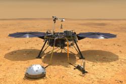 NASAs landingssonde Mars InSight skal undersøke det indre av vår røde naboplanet. Illustrasjon: NASA/JPL-Caltech