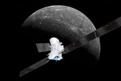 ESAs romsonde BepiColombo nærmer seg Merkur. Illustrasjon: ESA/ATG medialab