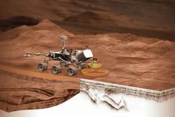 Den norske georadaren Rimfax sitter på roveren Mars2020 og ser lagene under overflaten på Mars. Grafikk: Rimfax/JPL/CalTech