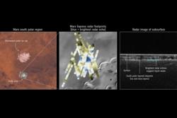 Den europeiske romsonden Mars Express har funnet flytende vann under sørpolen på Mars. Grafikk: NASA/Viking/JPL-Caltech/Arizona State University/ESA/ASI/Univ. Rome/R. Orosei et al 2018