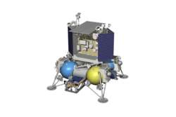 Luna-27 skal lande på sørpolen på månen i 2022. Grafikk: Roscosmos