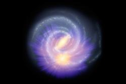 Melkeveiens stav (gul stripe i midten av galaksen) sett av romteleskopet Gaia, lagt over en illustrasjon av Melkeveien. Den gule sfæren lenger ute viser stjerner rundt solsystemet vårt sett av Gaia.Data: ESA/Gaia/DPAC, A. Khalatyan(AIP) & StarHorse team; Galaxy map: NASA/JPL-Caltech/R. Hurt (SSC/Caltech)