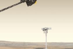 Banesonden Trace Gas Orbiter, roveren Rosalind og landingssonden Kazatsjok (i bakgrunnen) i ExoMars-prosjektet. Illustrasjon: ESA
