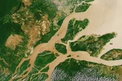Amazonas sett av Sentinel-2 i 2016.