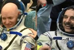 Scott Kelly (t.v.) og Mikhail Kornienko landet trygt 2. mars 2016 etter 340 dager på romstasjonen. Det er det lengste noen har vært i rommet siden 1990-tallet. Foto: NASA/ROSKOSMOS