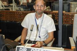 Norske Jon Harr var oppskytingsleder ved den europeiske romhavnen i Kourou. Her er han i kontrollrommet under sin første oppskyting av Ariane 5 den 16. oktober 2014. Foto: ESA/CNES