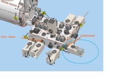 Her er fysikkeksperimentet CALET sirklet inn på plattformen utenfor den den japanske laboratoriemodulen Kibo på romstasFysikkeksperimentet CALET sirklet inn på plattformen slik den sitter utenfor den japanske laboratoriemodulen Kibo på romstasjonen. Grafikk: JAXA/ASI/NASA/CALET