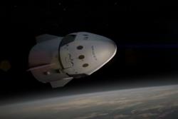 Dragon V2, det nye romfartøyet til SpaceX, i bane. Grafikk: SpaceX