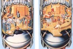 Slik så Skylab, den første amerikanske romstasjonen, på innsiden. Illustrasjon: NASA