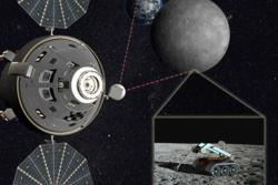 Fra en Orion-kapsel i L2-punktet bak månen kan rovere på månens overflate fjernstyres. Illustrasjon: NASA