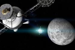 Det planlagte romfartøyet Orion sender en sonde ned til månen fra en base i L2-punktet. Illustrasjon: NASA