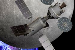 Det planlagte romfartøyet Orion ved en base i L2-punktet på månens bakside. Illustrasjon: NASA