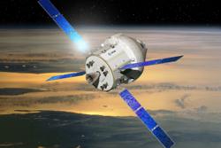 Orion med den europeiske service-modulen plassert under den kapselformete boenheten. Grafikk: ESA/D. Ducros