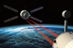 Under dokking med romstasjonen bruker ATV blant annet laserteknologi for å måle avstand. Illustrasjon: ESA/D. Ducros