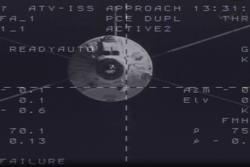 ESAs fjerde forsyningsferge Albert Einstein nærmer seg ISS. Den dokket 15. juni 2013. Foto: ESA.