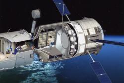 Slik ser det europeiske fraktfartøyet ATV ut på innsiden. Illustrasjon: ESA/D. Ducros