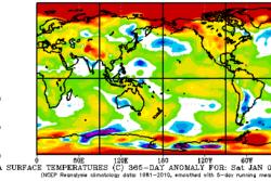 Geografiske avvik i 2016 fra den globale gjennomsnittstemperaturen slik den var fra 1981 til 2010. Rødere farge viser varmere temperatur. Grafikk: NOAA