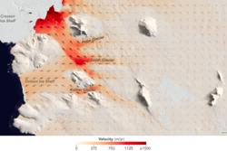 Farten og retningen til de tre isbreene Pope, Smith og Kohler, samt isbremmene Crosson og Dotson, i Vest-Antarktis, målt av NASA. Grafikk: NASA/EO