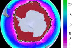 Utbredelsen av havis (rødt) rundt Antarktis (hvitt) med grensen for -1C (grønn linje) overflatetemperatur i havet med kaldt vann (lilla) rundt og varmere vann (blått) lenger nord. Grafikk: NASA/JPL-Caltech