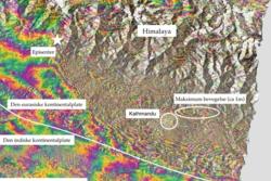 Interferogram av Himalaya med Nepal etter jordskjelvet 25. april 2015, sett av Sentinel-1A. Der fargene er tettest har jordskorpa beveget seg mest. Grafikk: Contains Copernicus data (2015)/ESA/Norut/PPO.labs/COMET–ESA SEOM INSARAP study