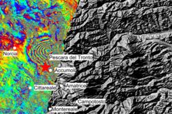 Interferogram av jordskjelvet i Italia den 24. august 2016. Bildet består av radardata tatt av Sentinel-1B 20. august og av Sentinel-1A 26. august 2016. Foto: Copernicus/ESA/ CNR-IREA