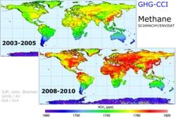 Mengden metan i atmosfæren fra 2003 til 2005 og fra 2008 til 2010 målt av satellittene Envisat og GoSat. Klikk for å se detaljer. Grafikk: IUP, Univ. Bremen/SRON/JPL/ESA/DLR