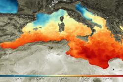 En kombinasjon av in situ-data og satellittdata har bidratt til dette kartet som viser overflatetemperaturen i Middelhavet. Foto: ESA - Medspiration
