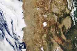 Satellittbilde av Atacama-ørkenen i Chile sett av Envisat. Foto: ESA