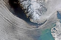 Sør-Norge og Nord-Jylland sett en vinterdag av satellitten Envisat. Foto: ESA