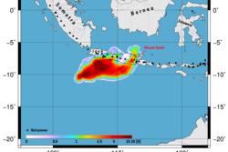 Svoveldioksid i atmosfæren etter utbruddet til vulkanen Kelut i Indonesia målt av den europeiske værsatellitten MetOp 14. februar 2014. Grafikk: ESA/DLR/BIRA-IASB/Eumetsat
