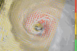 Tyfonen Neoguri herjet over Japan sommeren 2014. Her er vindfeltet ved havoverflaten 6. juli målt med scatterometeret ASCAT på satellitten MetOp-B. Foto: EUMETSAT
