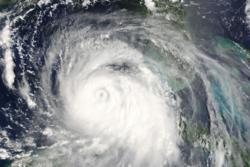 Orkanen Katrina sett fra satellitt i det den begynner å gå mot New Orleans. Foto: NASA/J. Schmaltz/MODIS