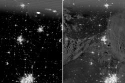 Nattbilder tatt før og etter tornadoen i Moore i Oklahoma i mai 2013 av satellitten Suomi-NPP. Foto: NASA/NOAA/SPORT