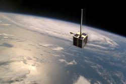Den norske satellitten AISSat-1. Illustrasjon: NRS/FFI/NASA/Nyhetsgrafikk.no