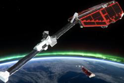 De europeiske forskningssatellittene Swarm undersøker jordas magnetfelt og indre. Foto: ESA/AOES Medialab