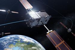 De fire første Galileo-satellittene i bane. Illustrasjon: ESA/P. Carril