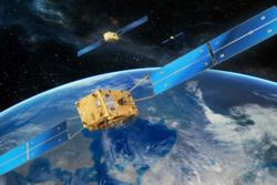 Illustrasjon av Galileo Full Operational Capability-satelliter i bane - den neste gruppen av europeiske navigasjonssatellitter som blir skutt opp. Norge har vært med å utvikle systemet gjennom medlemskapet i ESA. Ill.: ESA.