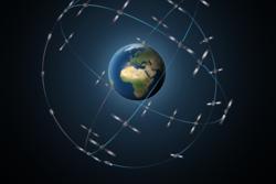 Når det nye europeiske navigasjonssystemet Galileo er ferdig vil det telle 30 satellitter. Grafikk: ESA/P. Carril
