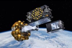 To Galileo-satellitter settes ut i sine motsatte baner fra frisettingsmekanismen de skytes opp med. Grafikk: ESA/J. Huart